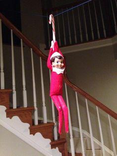 Over 300+ Elf on the Shelf Ideas - Ziplining!