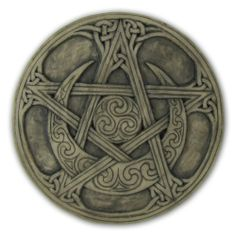"Moon Pentacle Plaque Stone Finish by Dryad Design. $22.99. Measures 6 3/8"" height x 6 3/8"" width x 3/4"" depth. Polyresin with finish. Statues reflect the natural texture of the original sculpture.. Created from the sculpture work of Paul Borda of Dryad Design.. A beautiful decorative element for your home or altar.. This pentacle, carved with Celtic knotwork as well as traditional Celtic swirl patterns. It is a symbol of Earth and Prosperity as seen in the tarot. The..."