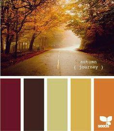 Autumn journey color palette by Design Seeds October Wedding Colors, Fall Wedding Colors, Scheme Color, Color Combinations, Fall Color Schemes, Design Seeds, Autumn Interior, Modern Interior, Purple Interior