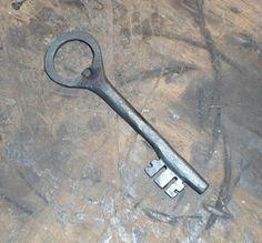Hand forged bottle opener key shaped blacksmith by IronBayForge, $35.00