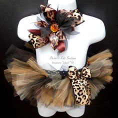 Newborn Animal Print Tutu With Matching Headband Set For Infant Photo Prop Idea Or Baby Shower Gift.  Cheetah Leopard Giraffe Black Brown Fall Autumn Ribbon