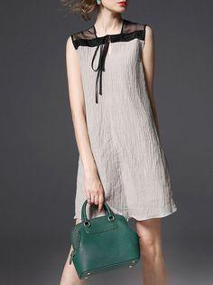 beb2c11b11b Multicolor Sleeveless Linen Paneled Mini Dress