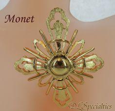 Monet Vintage Jewelry Gold Tone Brooch Large Burst.