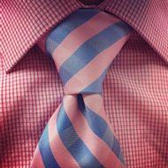 pratt knot on pink and blue tie