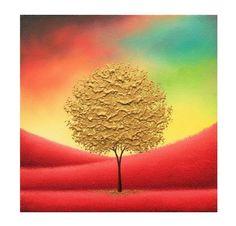 Gold Tree Painting Palette Knife Art Impasto Painting by BingArt