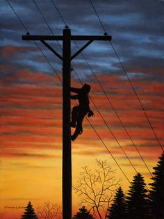 Sunset On Lineman - Sue you should paint this! Lineman Love, Power Lineman, Lineman For The County, Lineman Tattoo, Electrical Lineman, Journeyman Lineman, Energy Providers, Tumbler Designs, Sunset