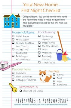 Adventures In Homeownership--first night in a new home checklist by Elizabeth Gillette More
