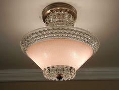 Vintage pink light fixture -- Art Deco Pink Hobnail Glass by VintageGlassLights Vintage Light Fixtures, Ceiling Light Fixtures, Vintage Lamps, Light Fittings, Vintage Decor, Ceiling Lights, Vintage Chandelier, Glass Ceiling, Vintage Pink