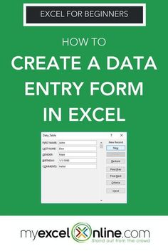 Create a Data Entry Form in Excel Computer Help, Computer Programming, Computer Tips, Computer Lessons, Computer Science, Macros, Microsoft Excel Formulas, Excel For Beginners, Excel Hacks