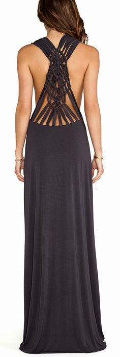 Crochet back maxi - I can't wait to try doing this to my oversized tshirts!