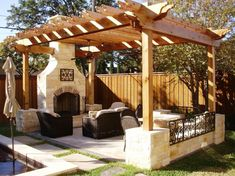 Home landscaping ideas designing backyard patio tips for small outdoor living room ideas with installing pergola and stone fireplace surround Modern Outdoor Living, Outdoor Living Rooms, Outside Living, Living Spaces, Outdoor Spaces, Modern Living, Home Garden Design, Patio Design, House Design
