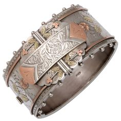 Engraving is a great technique to add in jewelry pieces. Victorian Silver Cuff Bracelet  England  1860 - 1880