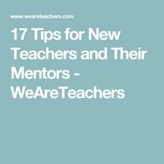 17 Tips for New Teachers and Their Mentors - WeAreTeachers