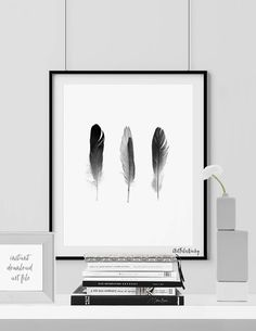 Feathers poster, Minimalist poster, feathers printable, Scandinavian art, Black & White, Home decor, Digital print wall art INSTANT DOWNLOAD