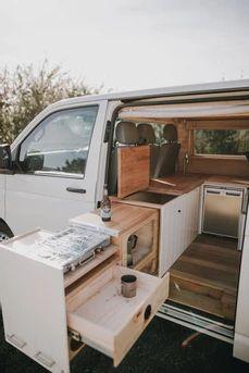 Van Conversion Interior, Van Interior, Camper Interior, Camper Van Kitchen, Vw Caravan, Minivan Camper Conversion, Transporter T3, Converted Vans, Build A Camper Van