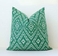 Green & White Ikat Decorative Designer Pillow by WhitlockandCo, $42.00