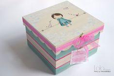 #Caja de #madera para #niña decorada con #muñeca y #pajaritos. www.lolagranado.com Painted Wooden Boxes, Decoupage Box, Diy Gift Box, Cigar Boxes, Tooth Fairy, Ideas Para, Diy And Crafts, Mandala, Decorative Boxes