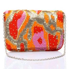 #KUNST Orange  #clutch. Funky multicoloured polyester hand embroidered clutch with thread and sequins work. #Bollywoodandfashion