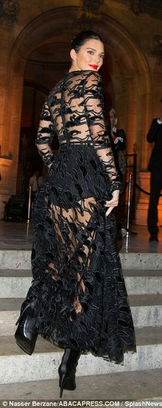 Sheer delight: The long, floor-skimming skirt offered a glimpse of her long legs as she climbed the stairs leading up to the venue Kendall Jenner, Kardashian Jenner, Julien Macdonald, Sheer Gown, Plunge Dress, Paris, Long Legs, Mannequins, Celebrity Style