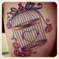 heart in bird cage tattoo - Google Search