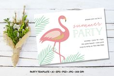 Summer Party Invite by Pixejoo on Creative Market