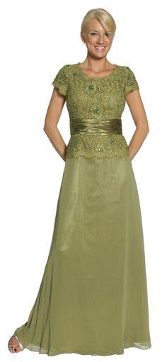Olive Green Mother of Bride/Groom Dress Evening Chiffon Cap Sleeve