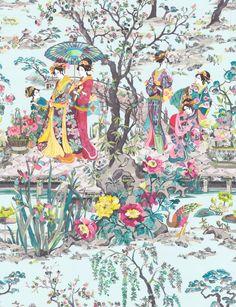 Japanese Garden Teal / Fuchsia / Lemon wallpaper by Osborne & Little