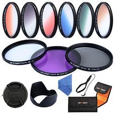 K&F Concept 52mm 9pcs UV CPL FLD Graduated Filter Lens Accessory Filter Kit UV Protector Circular Polarizing Filter Graduated Orange Blue Grey Red Green Brown for Nikon D5300 D5200 D5100 D3300 D3200 D3100 DSLR Cameras   Microfiber Lens Cleaning Cloth   Petal Lens Hood   Center Pinch Lens Cap/Cap Keeper   Filter Bag Pouch ** Want to know more, click on the image.