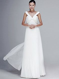 Ruched Deep V Neck Flowing Chiffon Bridal Gown 0908008 - USD $186.68