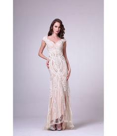 1920s Prom Dresses for Sale 2017 Off White Cap Sleeve Soft Lace Beaded Evening Dress $401.00 AT vintagedancer.com
