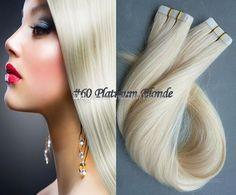 Best 100% Remy Human Hair #60 Platinum Blonde Skin Weft/Tape In Human Hair Extensions Peruvian Straight Hair 18 20 22 24inch 100g