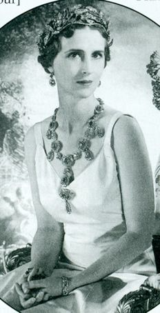 Princess Paul of Yugoslavia nee Princess of Greece and Denmark wearing the rubies inherited by her parents from her grandmother Queen Olga of Greece.They are now often worn by Queen Anne Marie