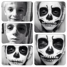 Halloween face painting. Grim reaper. Child's face.