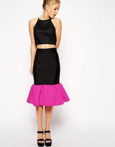 ASOS Premium Scuba Peplum Hem Pencil Skirt In Colour Block