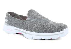 f9052b858b55 Womens Skechers GO Walk 3 Reboot Slip On Gray