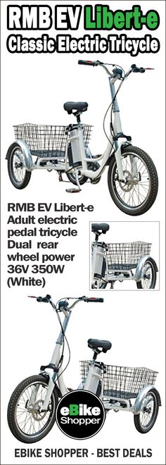 77d0739158a RMB EV Libert-e Adult electric pedal trike / tricycle with dual rear wheel  power 36V 350W (White)