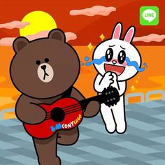 Cute Couple Cartoon, Cute Couple Art, Cute Couples, Cony Brown, Brown Bear, Line Cony, Chibi Cat, Brown Line, Emoji Faces