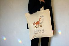 'Do more of what makes you happy ' Tote Bag, Canvas Bag, fox, snow, winter