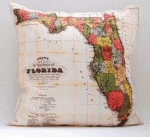 Vintage Florida Map Pillow Cover from Salt Labs