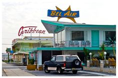 Bel Air and Caribbean Motel signs in Wildwood Crest, New Jersey.