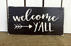 WELCOME YALL Rustic Wooden Sign / Bohemian Decor / Vintage Distressed Sign