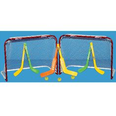 2 EZGoal Folding Metal Mini Hockey Goals 4 Curved Sticks 2 Goalie Sticks 3 Balls