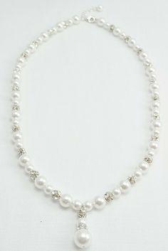 Pearl Dangle Necklace | Dainty Wedding Bride Necklace | Amanda Badgley Designs