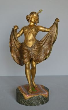 Rare, large sized version of 'Big Windy Day', an erotic bronze figure of a young dancer, with fine cold painted decoration and excellent detail throughout.