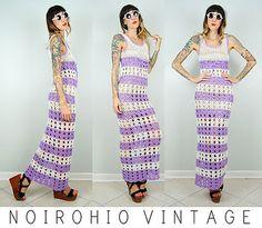 ▲ Vtg 70's striped CROCHET loose KNIT empire TIGHT maxi DRESS granny CUT OUT
