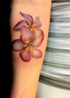 realistic plumeria tattoo - Google Search