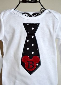 Boys Applique Mickey Mouse Shirt with initial by SpoiledSweetkids, $19.99