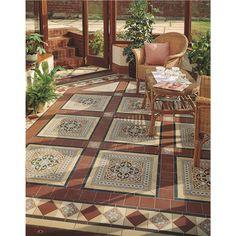 Victorian Floor Tiles - The Gladstone 4 tile set in situ in this elegant conservatory.
