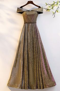 Stunning Off The Shoulder Corset Gold Sequined A Line Prom Evening Dress Winter Prom Dresses, Gold Prom Dresses, Prom Dresses Online, Evening Dresses, Formal Dresses, Orange Blush, Purple Grey, Platinum Grey, Buy Dress