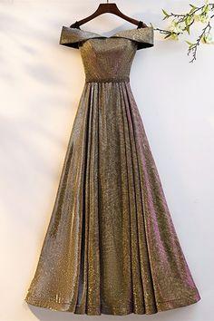 Stunning Off The Shoulder Corset Gold Sequined A Line Prom Evening Dress Winter Prom Dresses, Gold Prom Dresses, Prom Dresses Online, Evening Dresses, Formal Dresses, Orange Blush, Purple Grey, Platinum Grey, Buy Dress